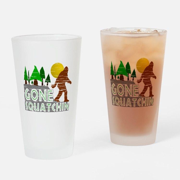 Gone Squatchin Vintage Retro Distre Drinking Glass