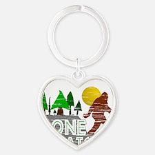 Gone Squatchin Vintage Retro Distre Heart Keychain