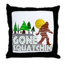 Gone Squatchin Vintage Retro Distress Throw Pillow