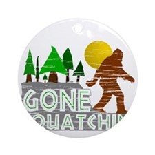 Gone Squatchin Vintage Retro Distre Round Ornament
