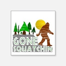 "Gone Squatchin Vintage Retr Square Sticker 3"" x 3"""