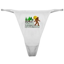Gone Squatchin Vintage Retro Distres Classic Thong