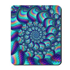 Turquoise Balls Fractal Art Pattern Mousepad