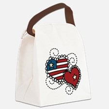 America Hearts Canvas Lunch Bag