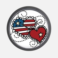 America Hearts Wall Clock