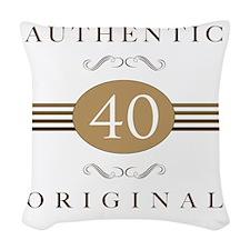 40th Birthday Gag Gift Woven Throw Pillow