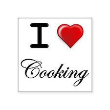 "I LOVE COOKING Square Sticker 3"" x 3"""