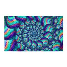 Turquoise Balls Fractal Art Pattern 3'x5' Area Rug