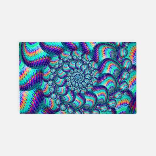 Turquoise Balls Fractal Art Pattern 3'x5' Area Rug