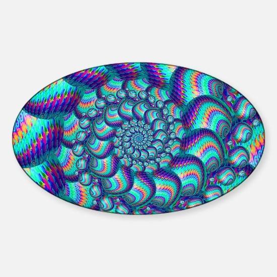Turquoise Balls Fractal Art Pattern Sticker (Oval)