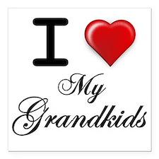 """I Love My Grandkids Square Car Magnet 3"""" x 3"""""""