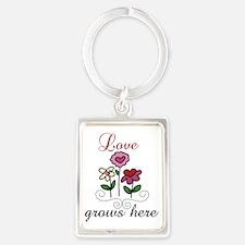 Love Grows Here Portrait Keychain