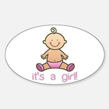 New Baby Girl Cartoon Oval Bumper Stickers