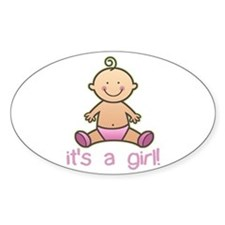 New Baby Girl Cartoon Oval Decal