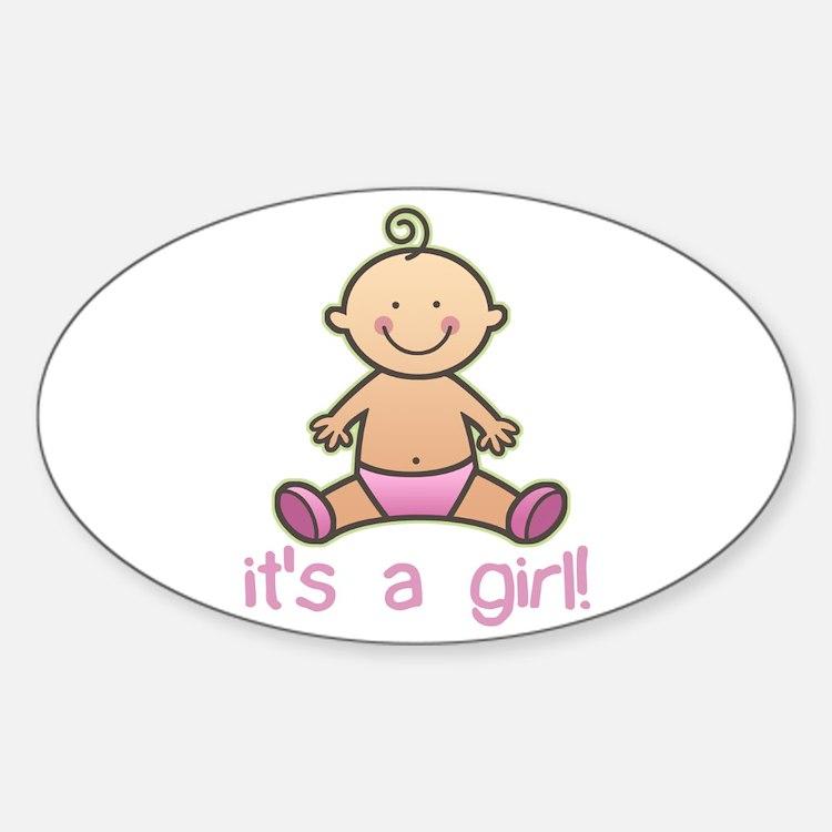 New Baby Girl Cartoon Oval Decal