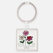 Valentine Flower Garden Square Keychain