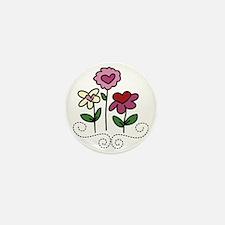 Valentine Flower Garden Mini Button