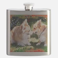 Happy Holidays Corgis Flask