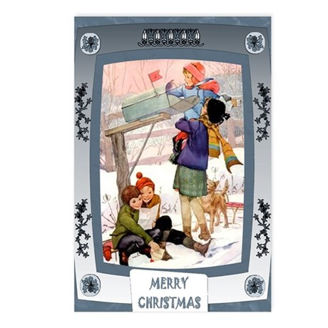 Children in the snow Postcards (Package of 8)