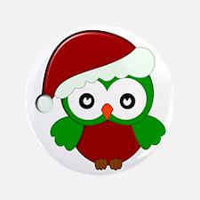 "Christmas Owl 3.5"" Button"