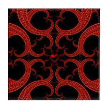 Red Black Goth Fractal Heart Pattern Tile Coaster