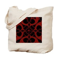 Red Black Goth Fractal Heart Pattern Tote Bag