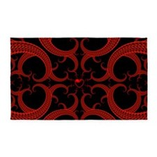 Red and Black Goth Fractal Art Hear 3'x5' Area Rug