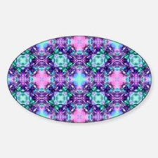 Turquoise Pink and Purple Fractal P Sticker (Oval)