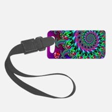 Purple Green and Red Bokeh Fract Luggage Tag