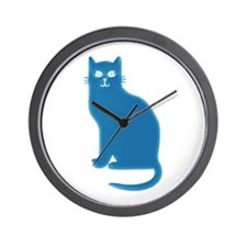 Aqua Blue Cat Wall Clock
