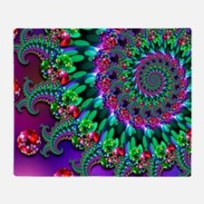 Purple Green and Red Bokeh Fractal P Throw Blanket