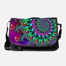 Purple Green and Red Bokeh Fractal P Messenger Bag
