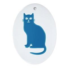 Aqua Blue Cat Oval Ornament