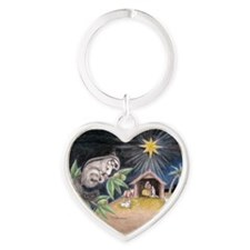 At the Manger Heart Keychain