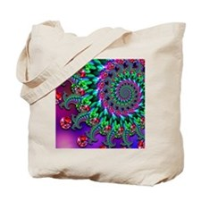 Purple Green and Red Bokeh Fractal Patter Tote Bag