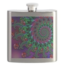 Purple Green and Red Bokeh Fractal Pattern Flask