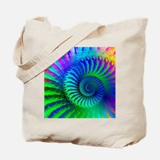 Psychedelic Rainbow Blue Hippie Pattern Tote Bag