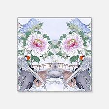 "King Duvet Pheasant Peony F Square Sticker 3"" x 3"""