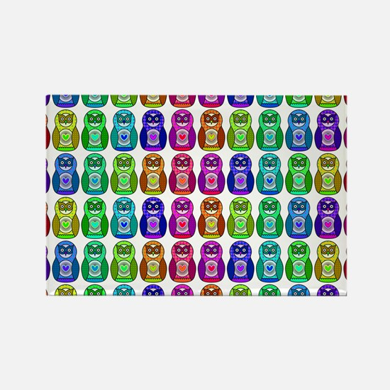 Rainbow Matryoshka Owl Pattern Rectangle Magnet
