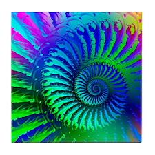 Psychedelic Rainbow Blue Hippie Patte Tile Coaster