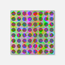 "Psychedelic Rainbow Spots P Square Sticker 3"" x 3"""