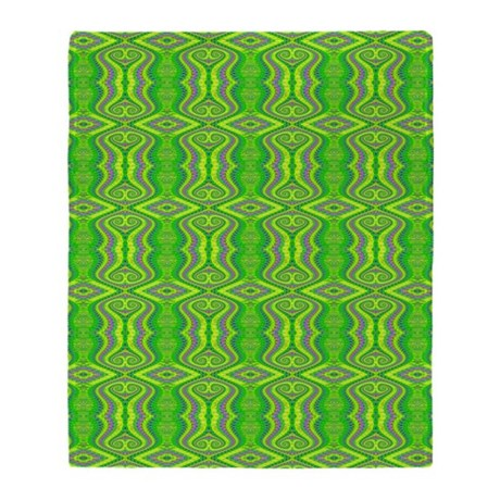 retro lime green fractal pattern throw blanket by admin cp74453057. Black Bedroom Furniture Sets. Home Design Ideas
