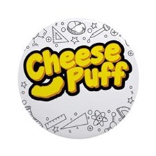 Cheese Puff Scientist Round Ornament