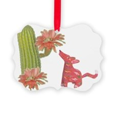 CACTUS FLOWER AND COYOTE Ornament