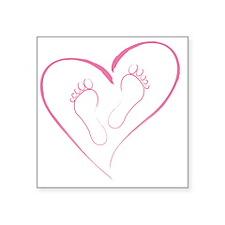"Pink footprints in Love Square Sticker 3"" x 3"""