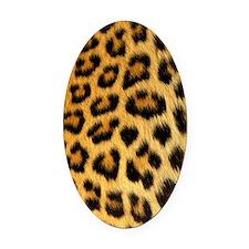 Leopard print Oval Car Magnet