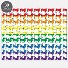 Doxie Gay Pride Flag Print Puzzle