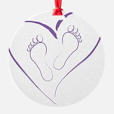 Purple Footprints in Love Ornament