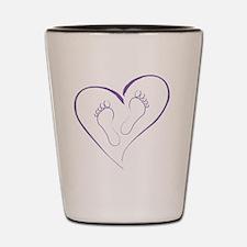 Purple Footprints in Love Shot Glass