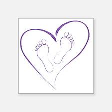 "Purple Footprints in Love Square Sticker 3"" x 3"""